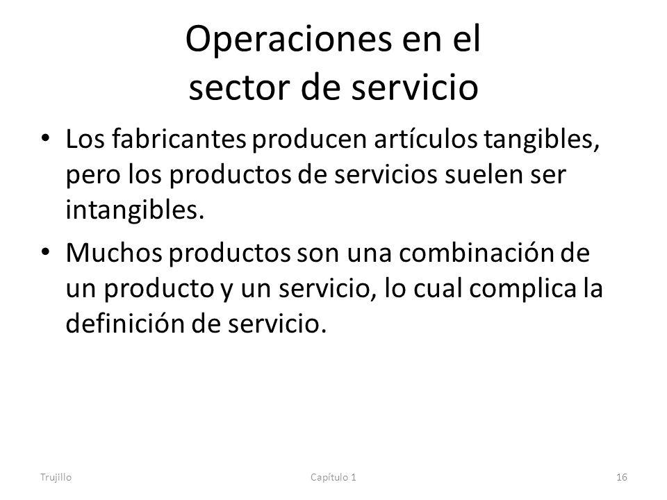 Operaciones en el sector de servicio