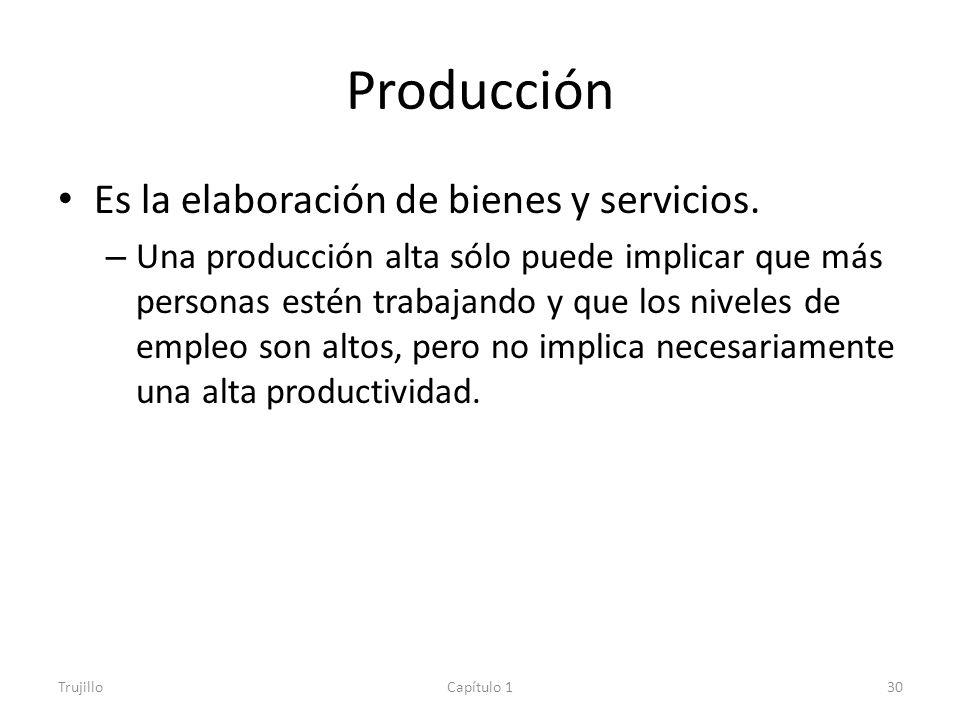 Producción Es la elaboración de bienes y servicios.