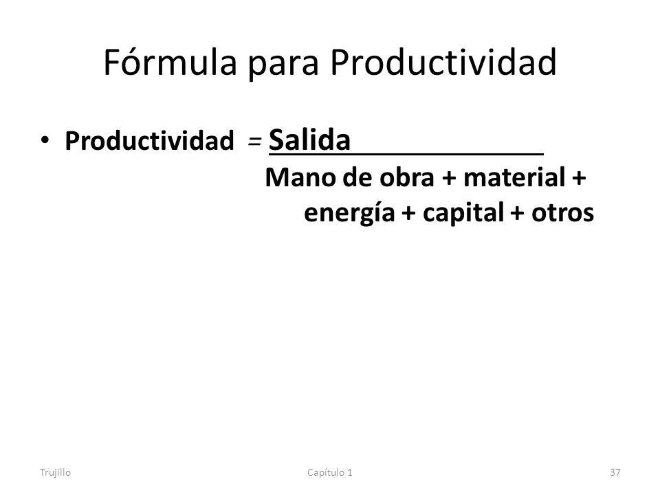 Fórmula para Productividad