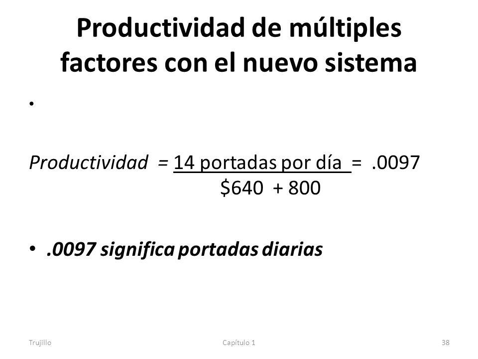 Productividad de múltiples factores con el nuevo sistema