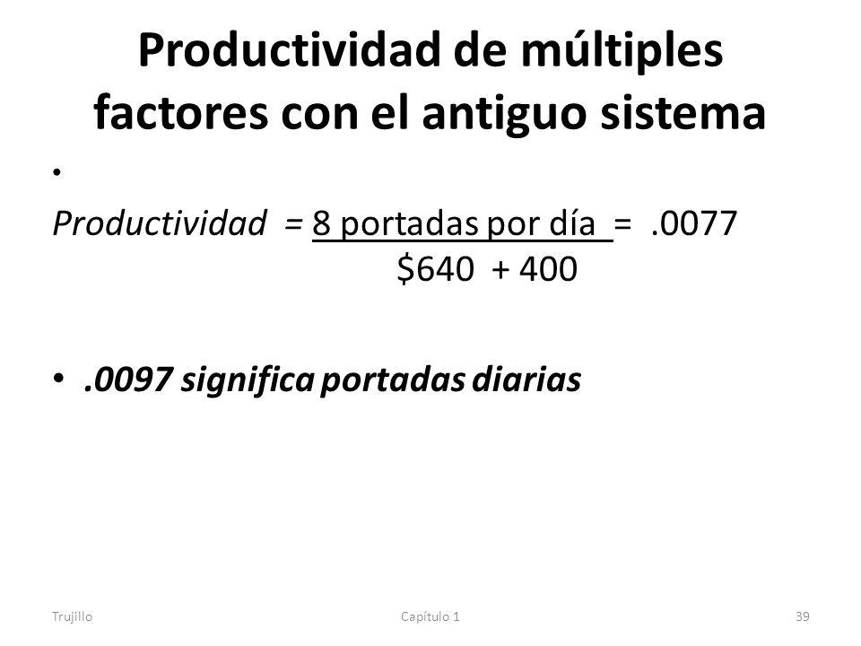 Productividad de múltiples factores con el antiguo sistema