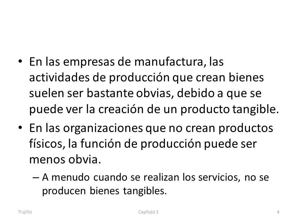 En las empresas de manufactura, las actividades de producción que crean bienes suelen ser bastante obvias, debido a que se puede ver la creación de un producto tangible.