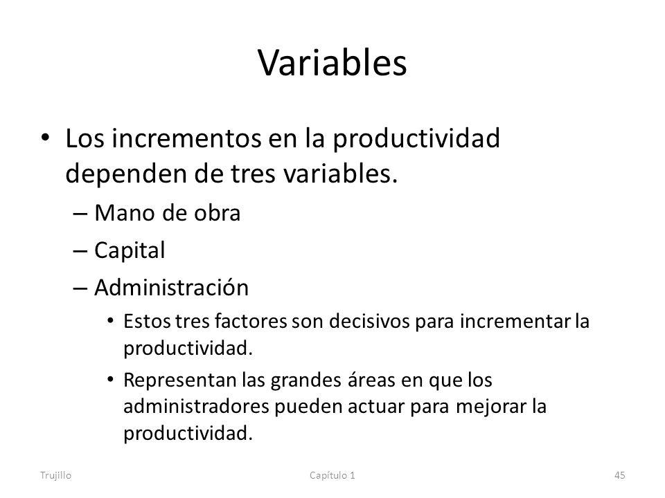 Variables Los incrementos en la productividad dependen de tres variables. Mano de obra. Capital. Administración.