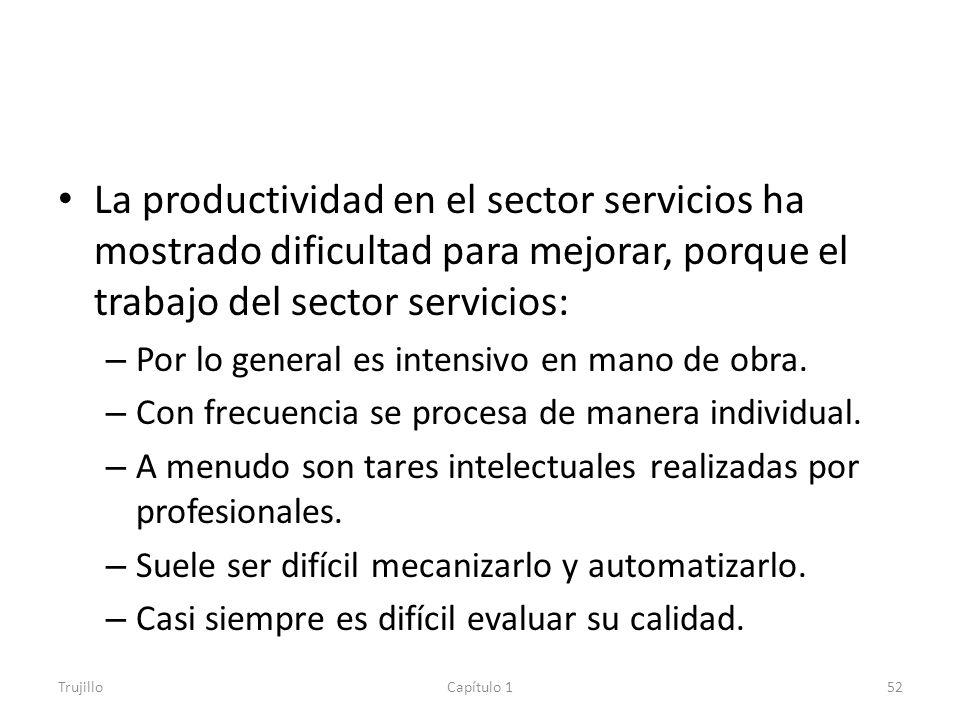 La productividad en el sector servicios ha mostrado dificultad para mejorar, porque el trabajo del sector servicios: