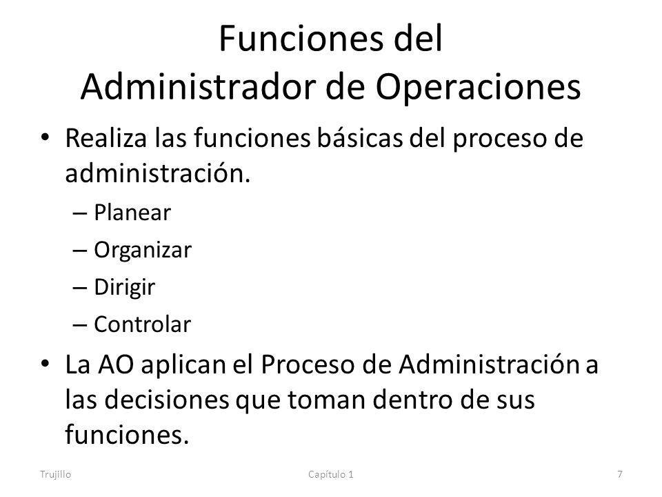 Funciones del Administrador de Operaciones