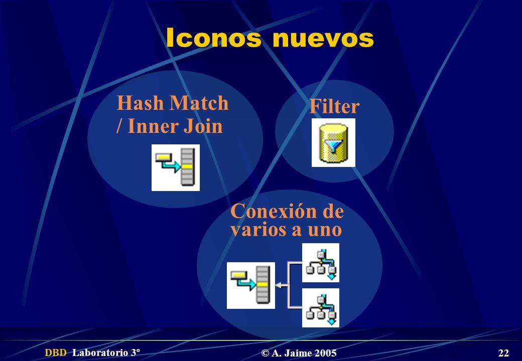 Iconos nuevos Filter Hash Match / Inner Join Conexión de varios a uno