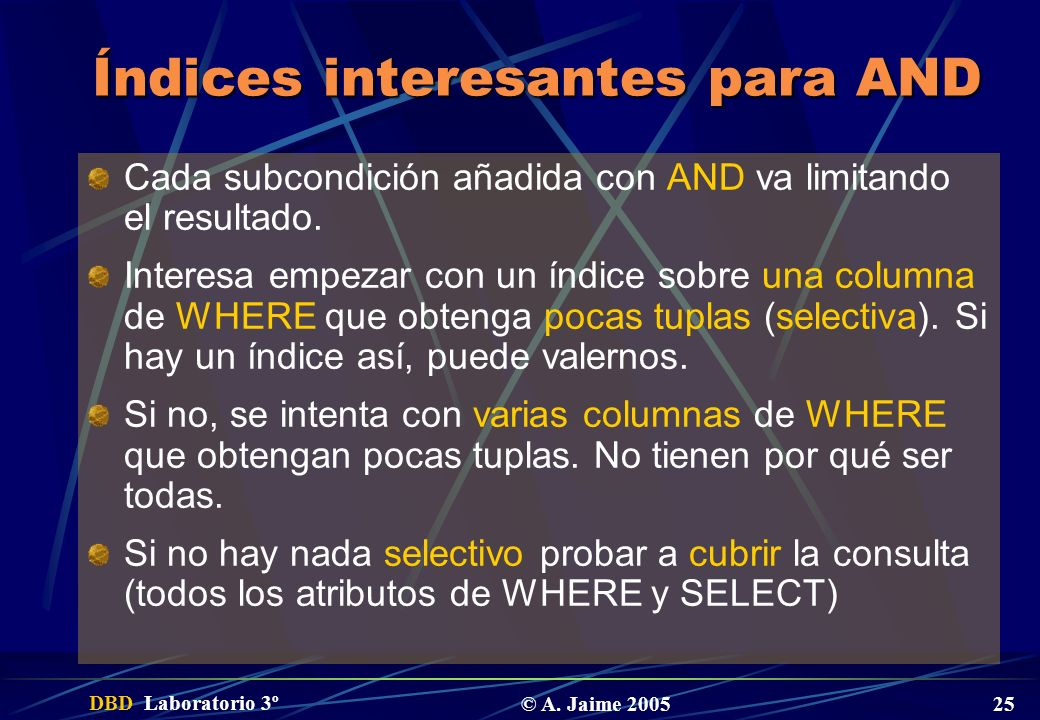 Índices interesantes para AND