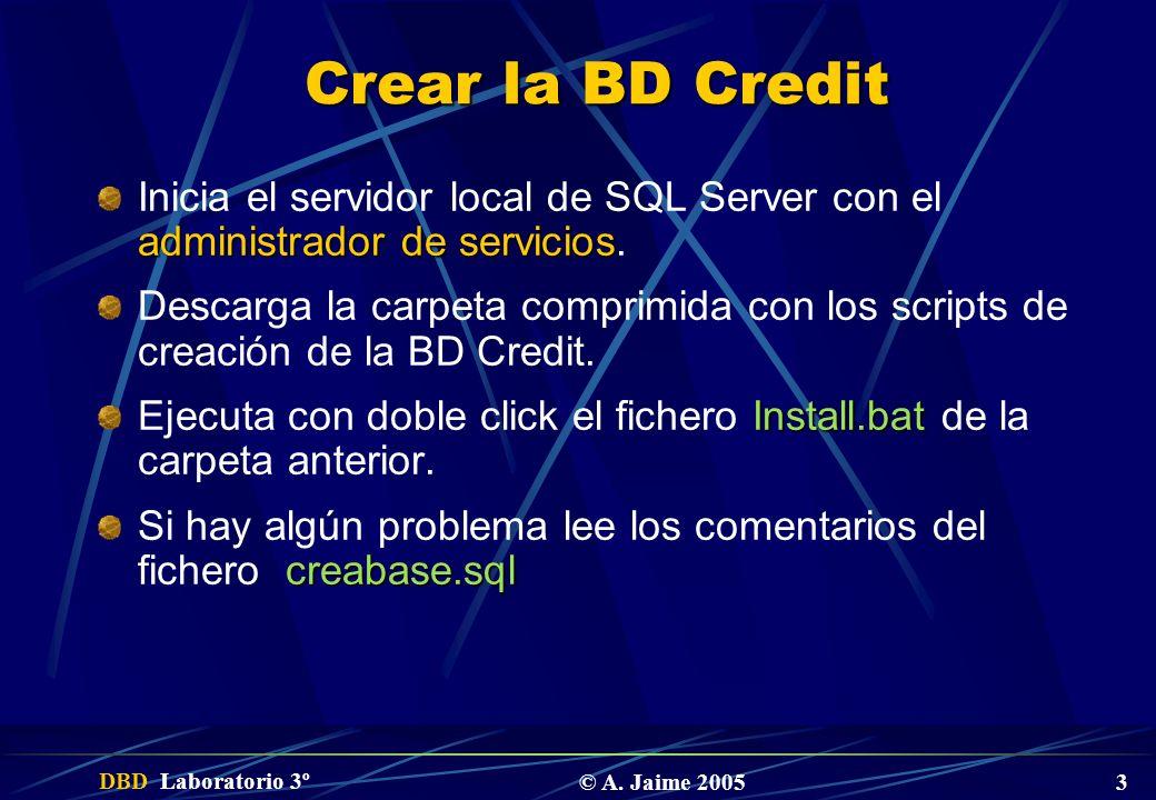 Crear la BD Credit Inicia el servidor local de SQL Server con el administrador de servicios.