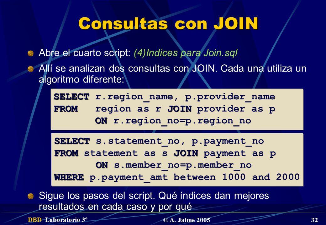 Consultas con JOIN Abre el cuarto script: (4)Indices para Join.sql
