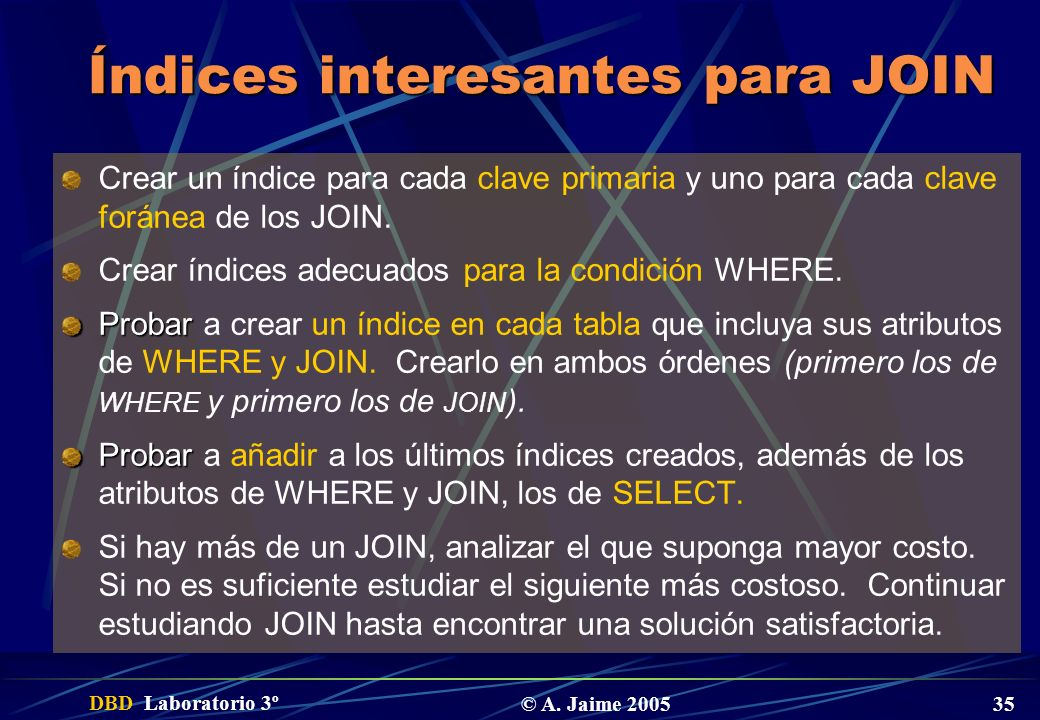 Índices interesantes para JOIN