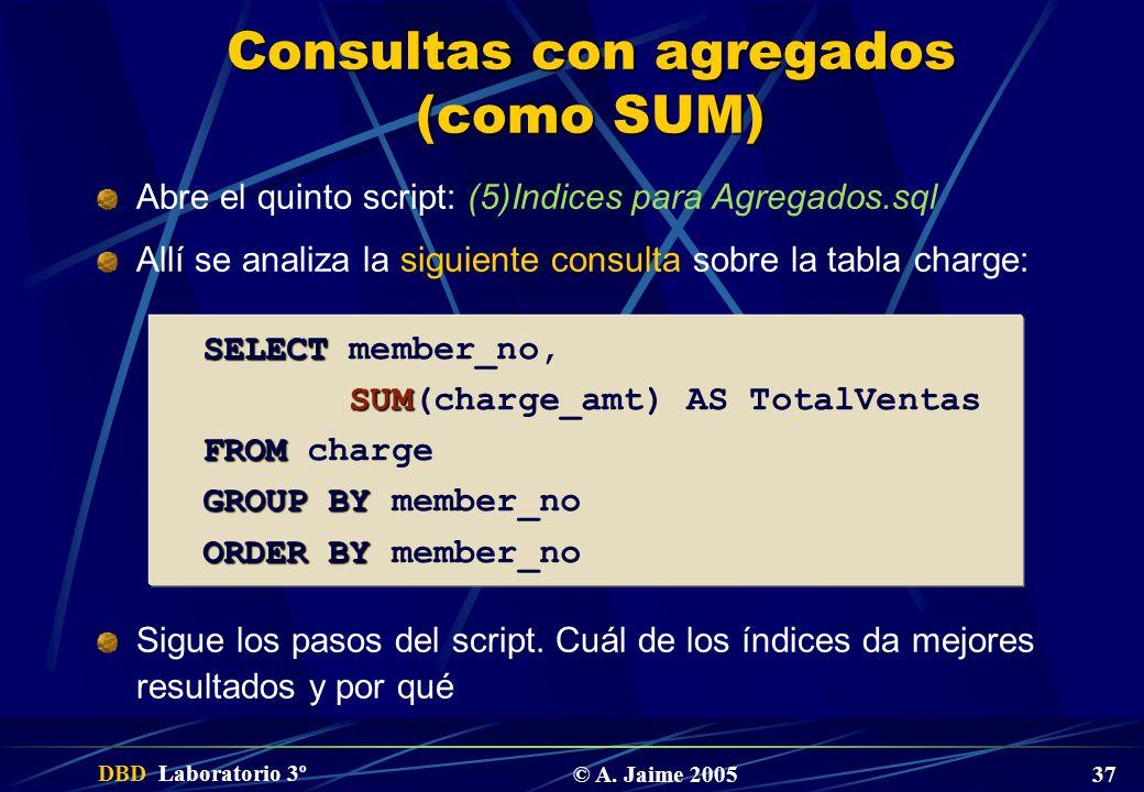 Consultas con agregados (como SUM)