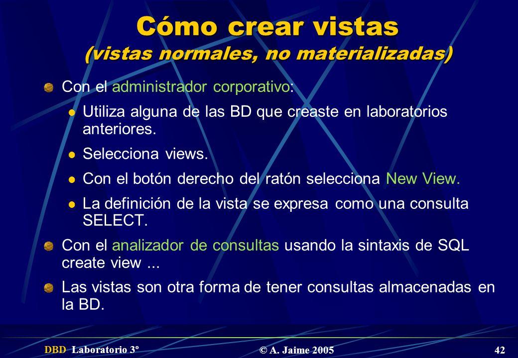 Cómo crear vistas (vistas normales, no materializadas)