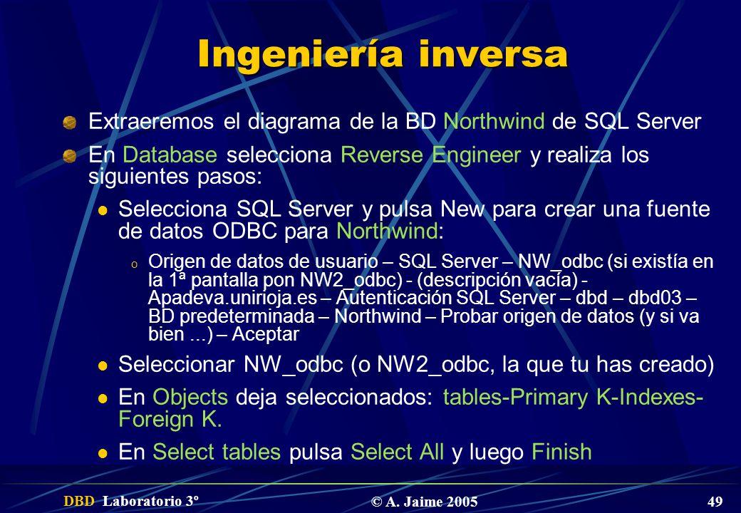 Ingeniería inversa Extraeremos el diagrama de la BD Northwind de SQL Server. En Database selecciona Reverse Engineer y realiza los siguientes pasos: