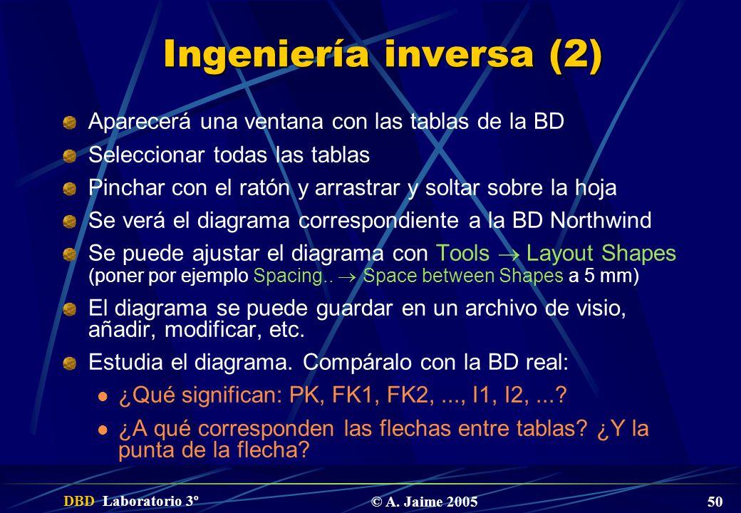 Ingeniería inversa (2) Aparecerá una ventana con las tablas de la BD