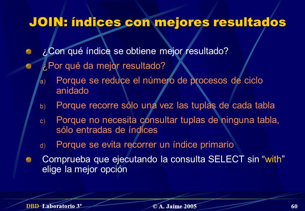 JOIN: índices con mejores resultados