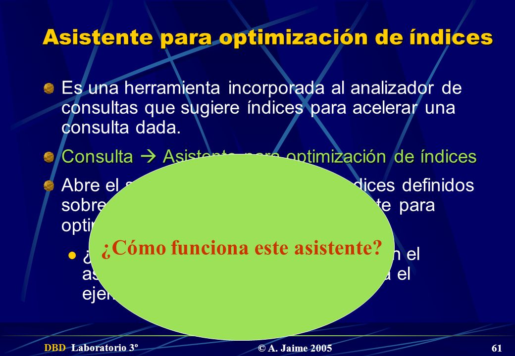 Asistente para optimización de índices