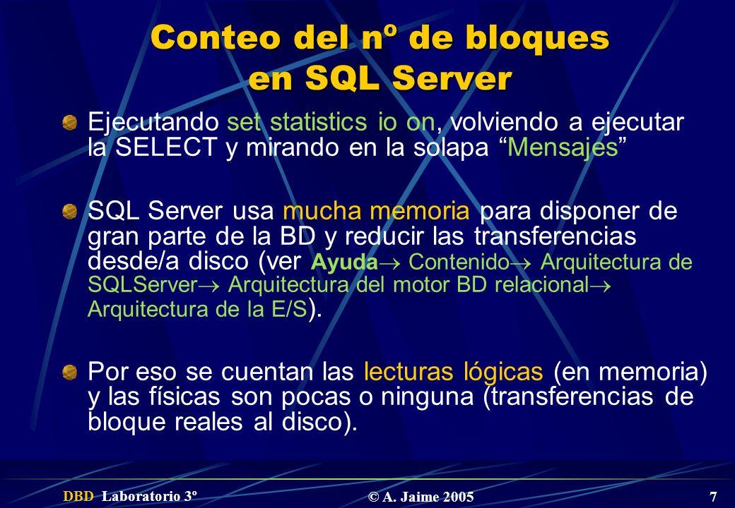 Conteo del nº de bloques en SQL Server