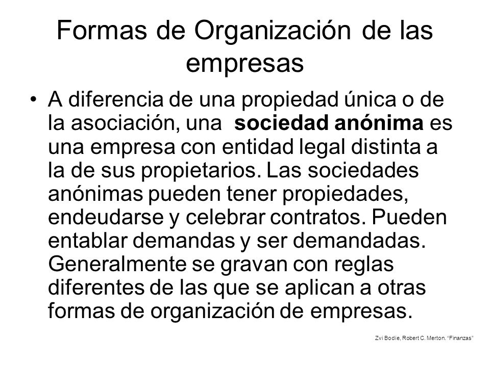 Formas de Organización de las empresas