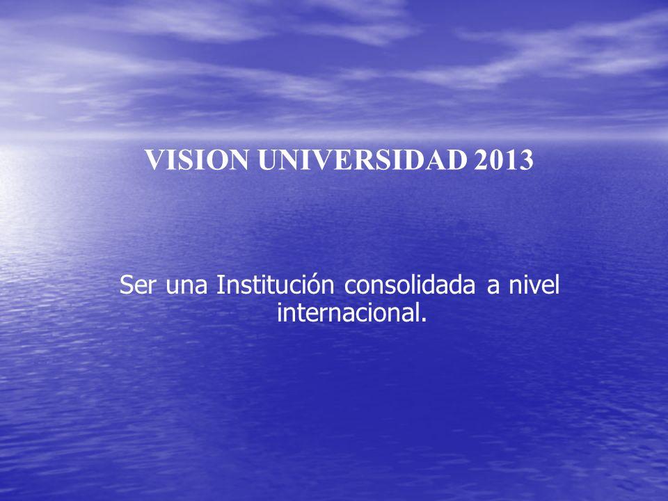 Ser una Institución consolidada a nivel internacional.