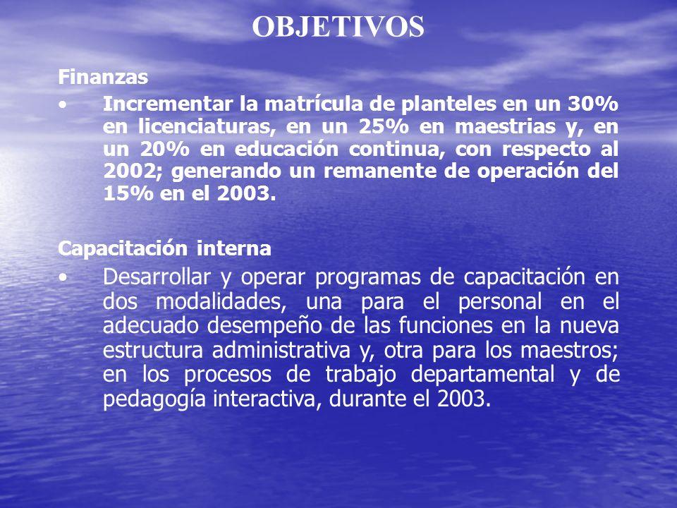 OBJETIVOS Finanzas.