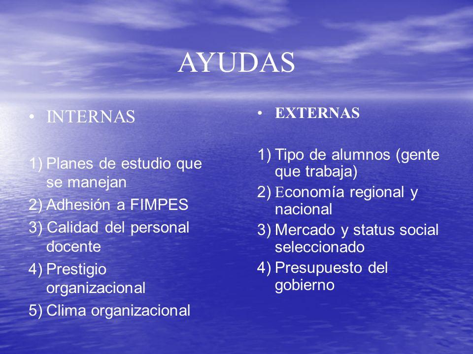 AYUDAS INTERNAS EXTERNAS 1) Tipo de alumnos (gente que trabaja)
