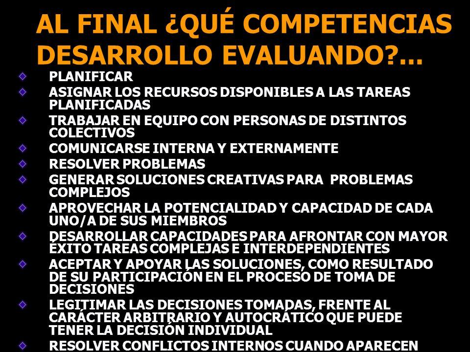 AL FINAL ¿QUÉ COMPETENCIAS DESARROLLO EVALUANDO ...