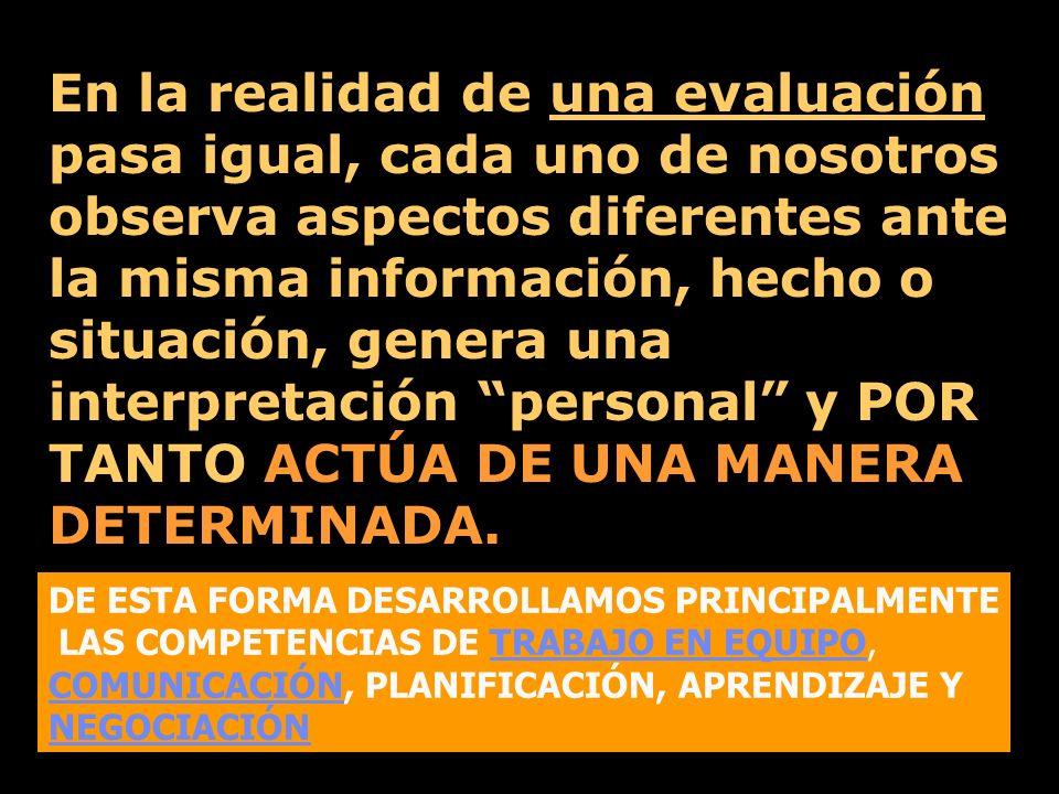 En la realidad de una evaluación pasa igual, cada uno de nosotros observa aspectos diferentes ante la misma información, hecho o situación, genera una interpretación personal y POR TANTO ACTÚA DE UNA MANERA DETERMINADA.