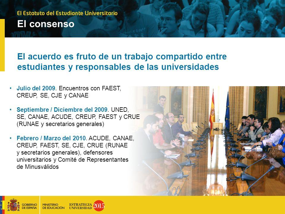 El consenso El acuerdo es fruto de un trabajo compartido entre estudiantes y responsables de las universidades.