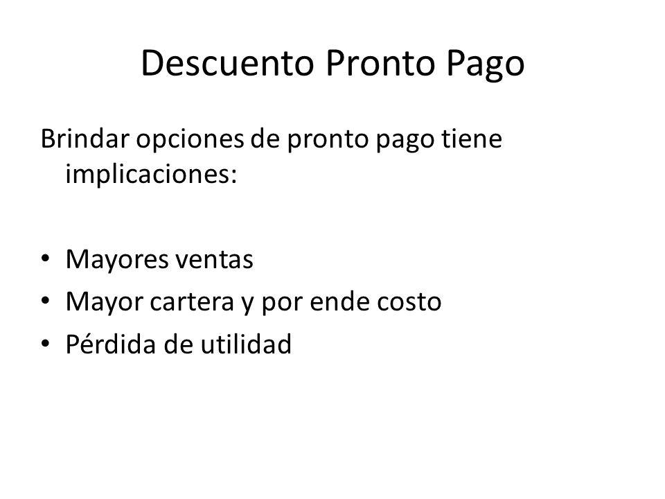 Descuento Pronto Pago Brindar opciones de pronto pago tiene implicaciones: Mayores ventas. Mayor cartera y por ende costo.