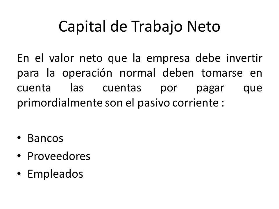 Capital de Trabajo Neto