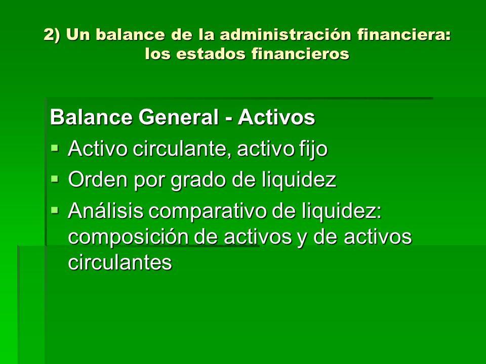 2) Un balance de la administración financiera: los estados financieros