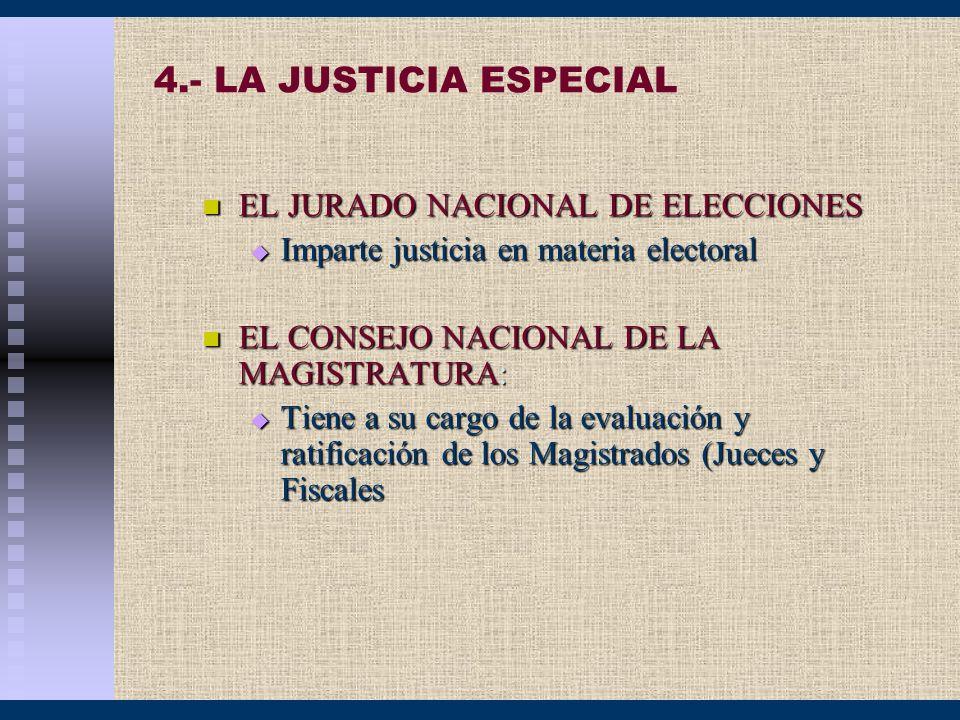 4.- LA JUSTICIA ESPECIAL EL JURADO NACIONAL DE ELECCIONES