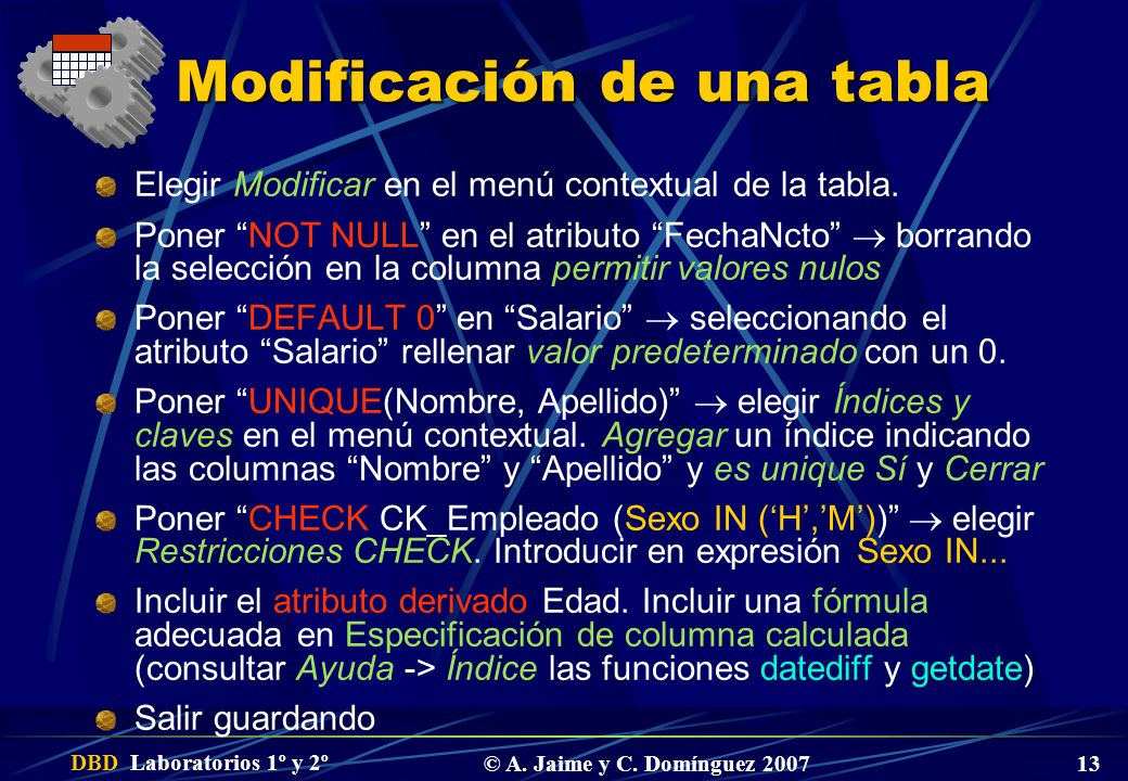 Modificación de una tabla