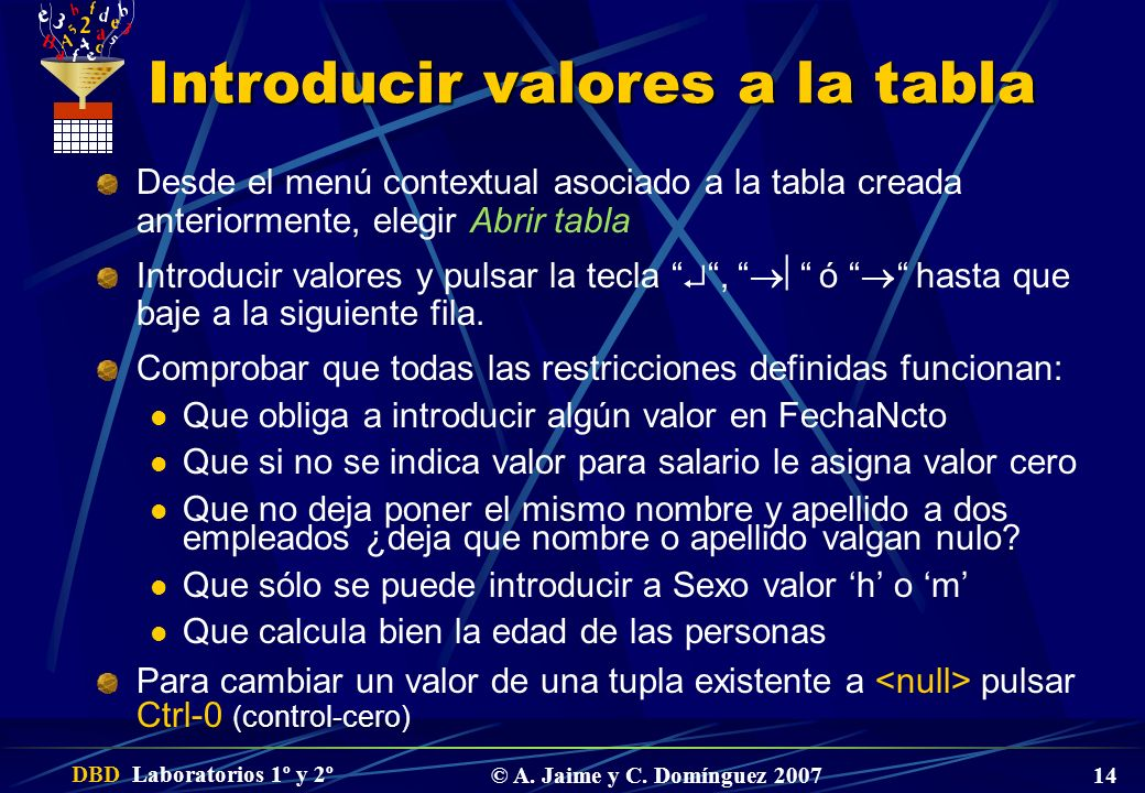 Introducir valores a la tabla