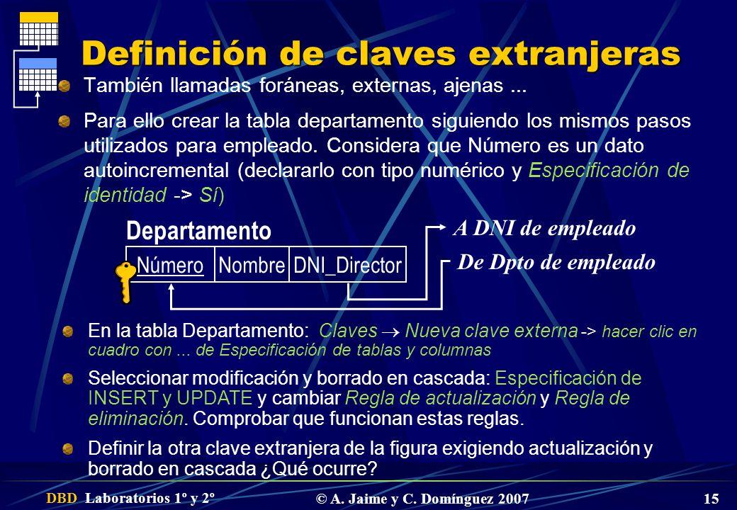 Definición de claves extranjeras