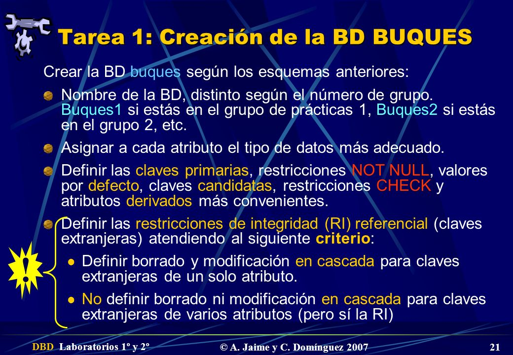 Tarea 1: Creación de la BD BUQUES