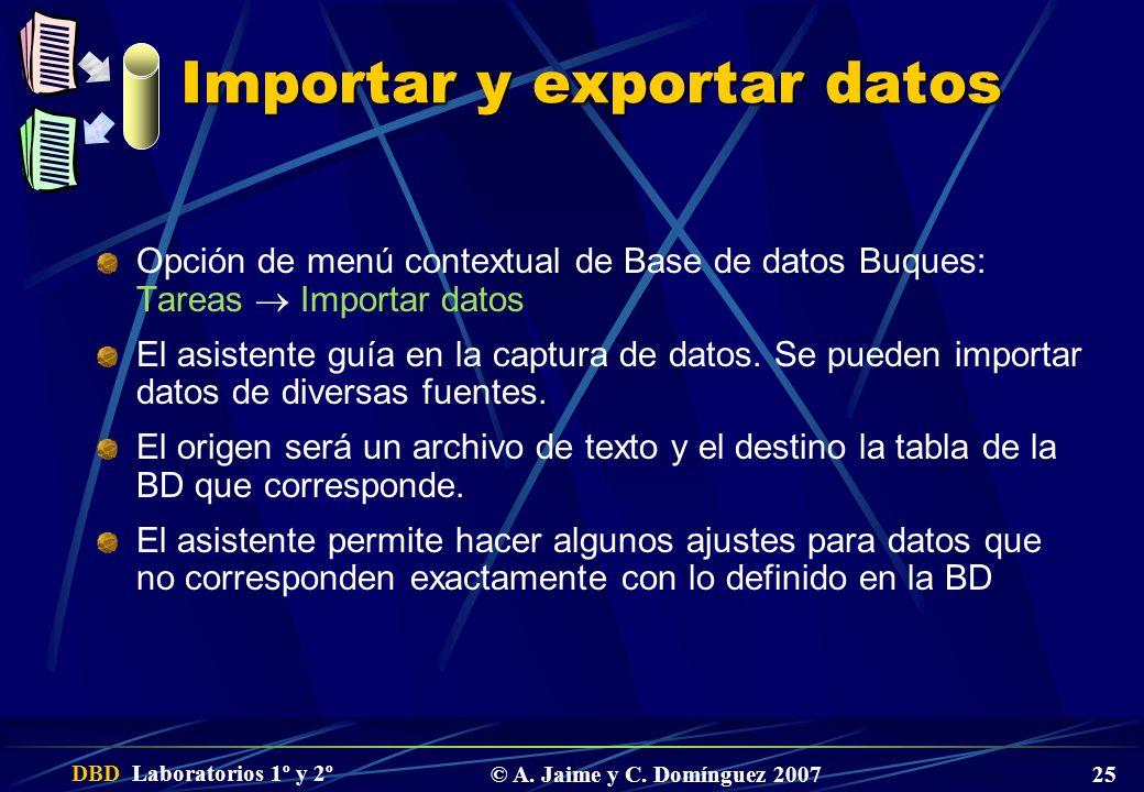 Importar y exportar datos