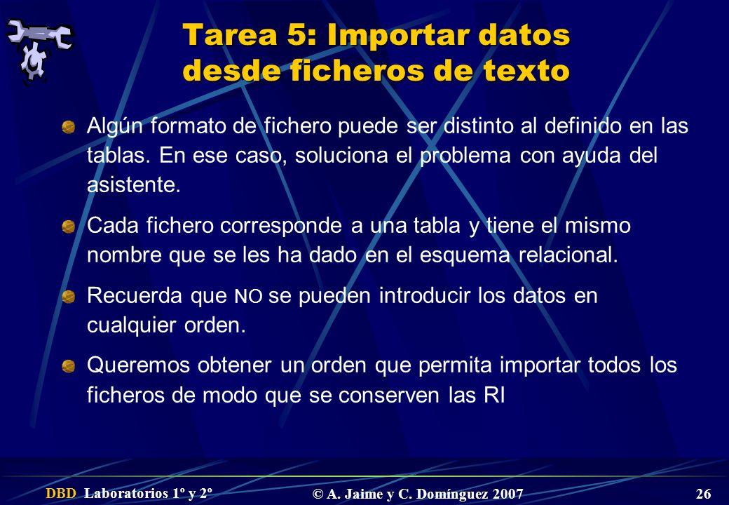 Tarea 5: Importar datos desde ficheros de texto