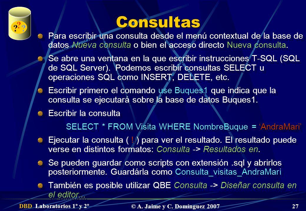 Consultas. Para escribir una consulta desde el menú contextual de la base de datos Nueva consulta o bien el acceso directo Nueva consulta.