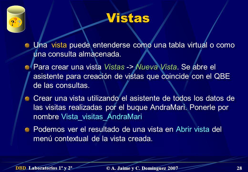 Vistas. Una vista puede entenderse como una tabla virtual o como una consulta almacenada.