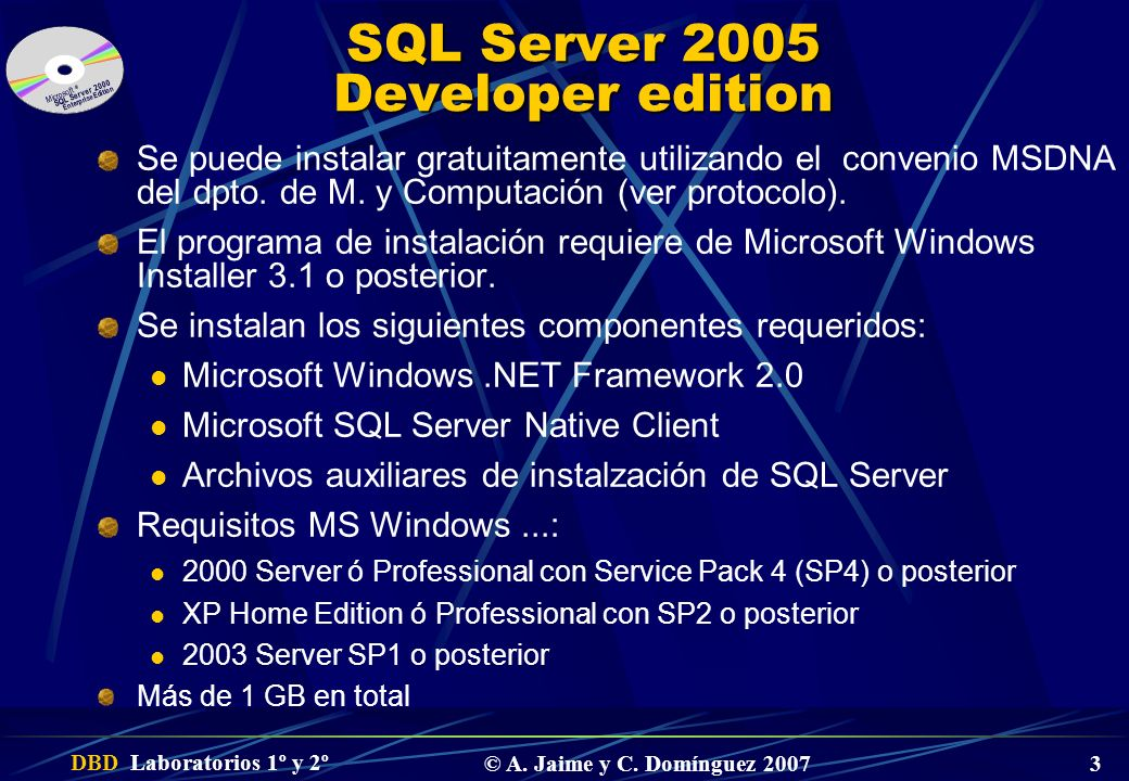 SQL Server 2005 Developer edition