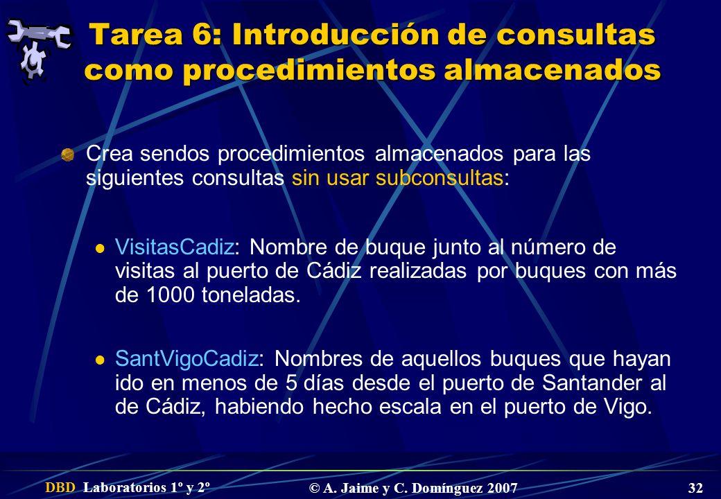 Tarea 6: Introducción de consultas como procedimientos almacenados
