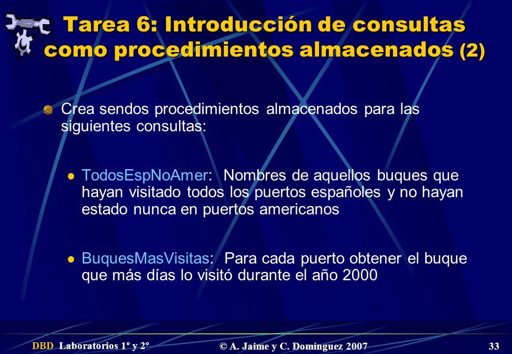 Tarea 6: Introducción de consultas como procedimientos almacenados (2)