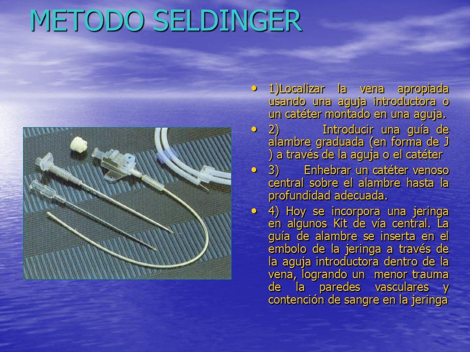 METODO SELDINGER 1)Localizar la vena apropiada usando una aguja introductora o un catéter montado en una aguja.