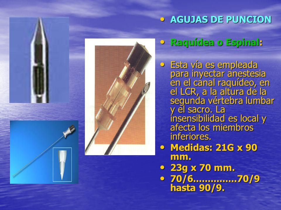 AGUJAS DE PUNCION Raquídea o Espinal: