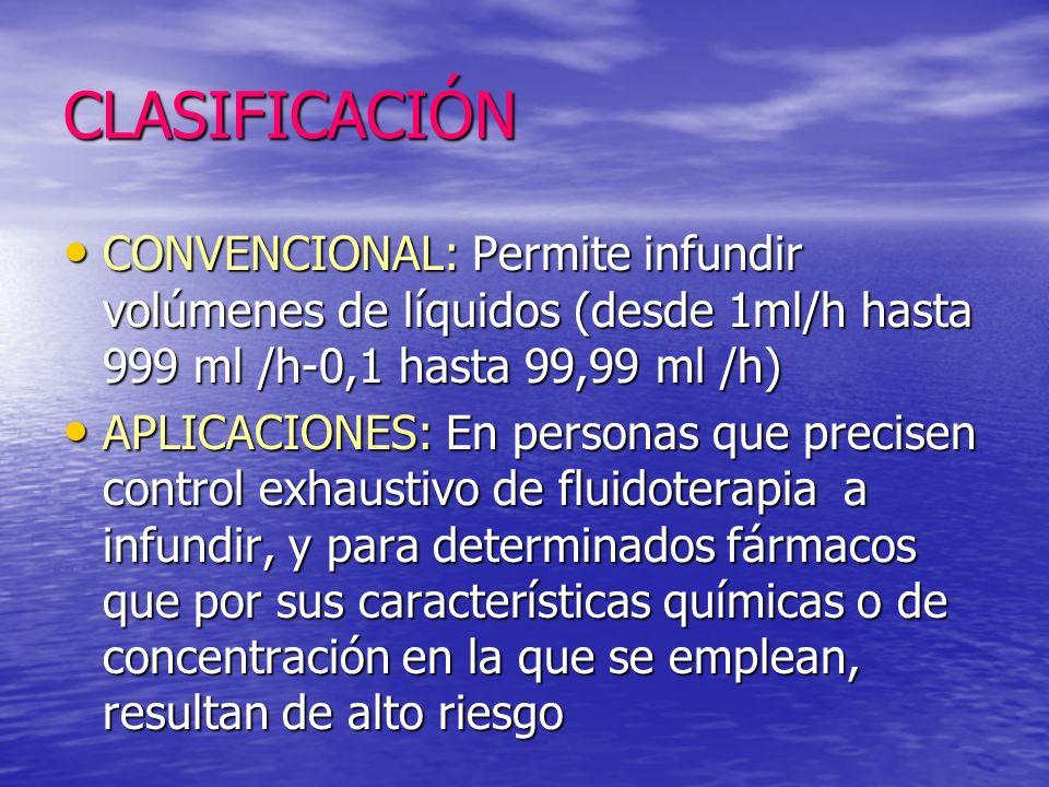 CLASIFICACIÓN CONVENCIONAL: Permite infundir volúmenes de líquidos (desde 1ml/h hasta 999 ml /h-0,1 hasta 99,99 ml /h)