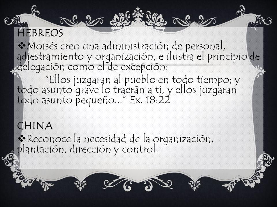 HEBREOS Moisés creo una administración de personal, adiestramiento y organización, e ilustra el principio de delegación como el de excepción: