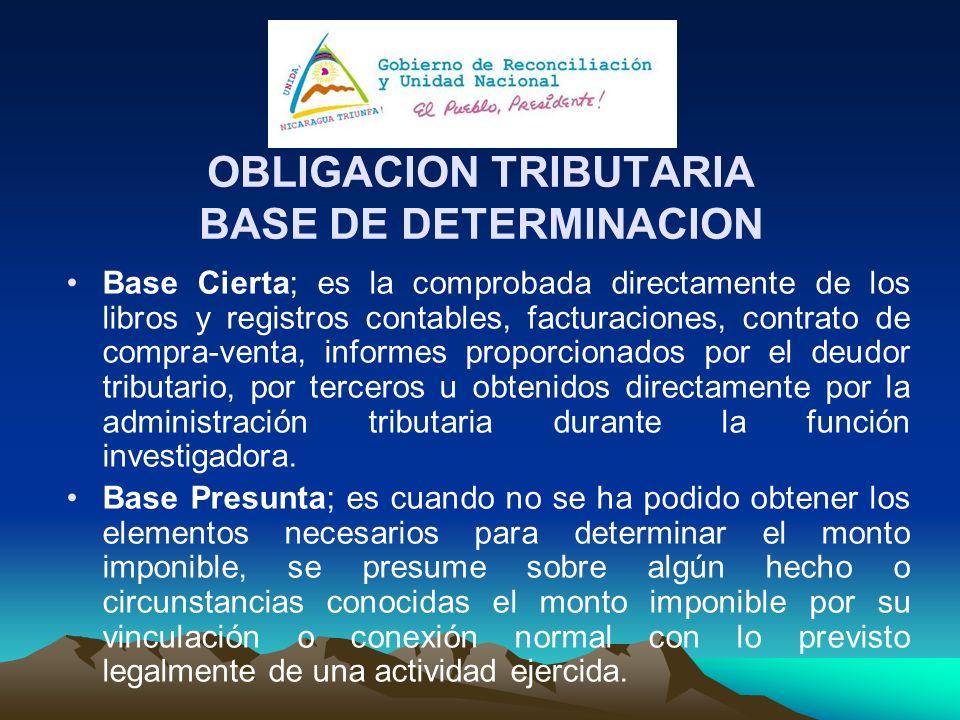 OBLIGACION TRIBUTARIA BASE DE DETERMINACION