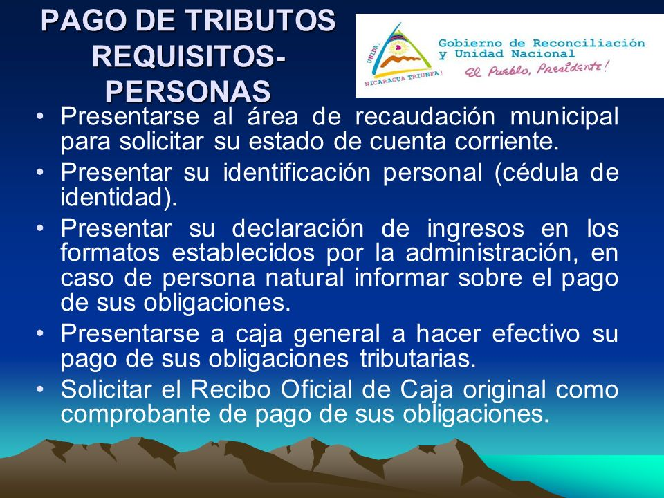 PAGO DE TRIBUTOS REQUISITOS-PERSONAS