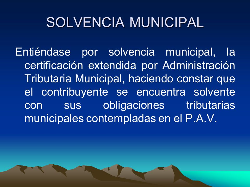 SOLVENCIA MUNICIPAL